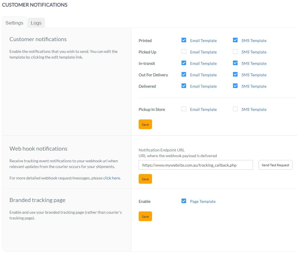 Webhook notifications – StarShipIT Support